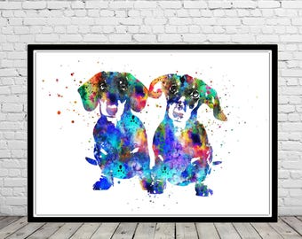 Dachshund, Dachshund dog, watercolor dog, watercolor Dachshund, Dachshund in love, dog print, dog art, dog, Kids Room Decor, wall art