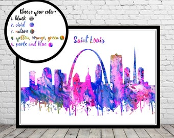 Saint Louis, Saint Louis skyline, Saint Louis Missouri, Missouri, Office Art, watercolor Saint Louis, watercolor City Print (3274-78b)