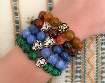 10mm Beads with Lion Charm Bead - Custom Fit Bracelet