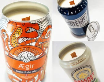 Soy candle with a wood wick 3 PACK. Upcycled Beer Cans. Choose your own fragrance