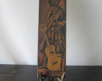 Spanish Guitarist Carved Wood Plaque