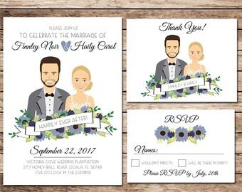 Drawing/Illustrated Wedding invitation, Blue Flowers, Wildflower Invite