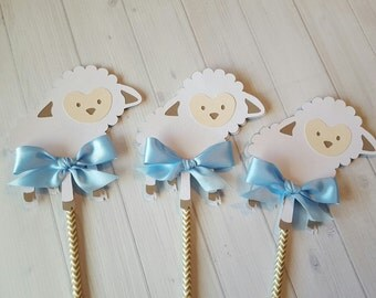 Boy Girl Lamb Sheep Baby Shower Centerpiece-Boy Girl Baby lamp sheep centerpiece-Baby boy girl shower centerpiece-Baby boy baby girl