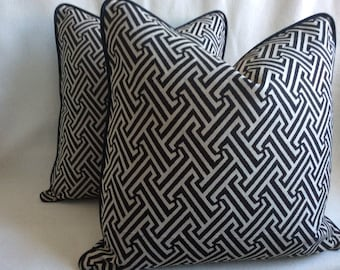 two graphic designer pillow covers black beige woven labyrinth design with contrasting piping - Graphic Design From Home