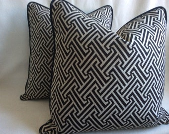 Two Graphic Designer Pillow Covers - Black/ Beige Woven Labyrinth Design with Contrasting Piping - 20x20 Covers