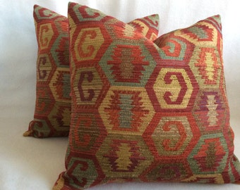 Turkish Pattern Designer Pillow Covers - Kilim Style - Rich Spice Colors - 18x18 Covers