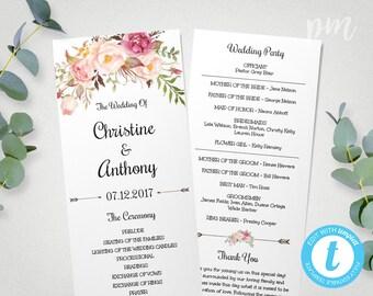 Wedding Program Template, Instant Download, Bohemian Floral Wedding Program, Edit in Our Web App, Printable Ceremony Program