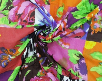 "Indian Decorative Cotton Fabric For Sewing Designer Floral Pattern Fabric Cotton Voile 44"" Width Sewing Multicolor Crafted By 1 Yard ZBC2548"