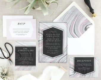 Geode Wedding Invitation Suite - Bohemian Wedding Invitations Printed - Boho Wedding Invite - Marble Wedding Invitation Set - Set of 10