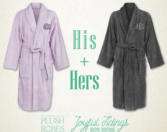 His and Hers Fleece Robe Set, Couples Gift, Gift for Bride, Gift for Groom, Anniversary Gift, Housewarming Gift, Getting Ready, Bridal Gift