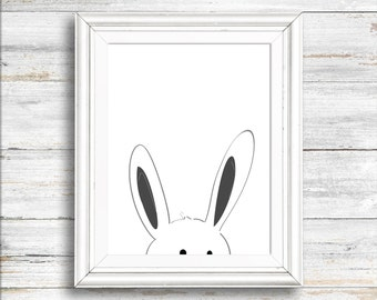 Nursery art, Peeking Bunny print, Digital Download Print,  Wall decor, animal print, Instant download, Wall art, Home decor