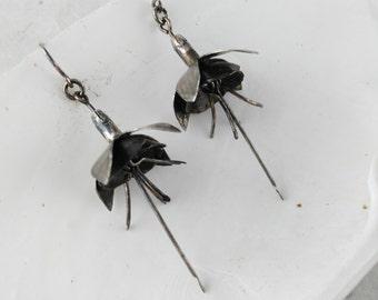 Tarnished Fuschia Earrings - Flower Earrings - Fuschia Drop Earrings - Gift for Her Woman - Gothic Earrings - Boho Luxe Earrings
