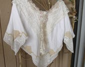 Linen Boho Poncho Top Blouse Repurposed vintage Linens Doilies Hippie Style Recycled Textiles