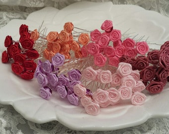 Satin Roses Hair Pins, Set of 10, 15, 20, Satin flowers Hair Pins, Bridal Hair Accessories