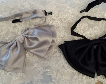 Set of 2, Women Satin Bow Ties , SILVER & BLACK, with Adjustable Strap