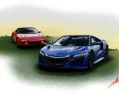 "Automotive Art - Honda / Acura NSX ""Generations"""