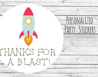 Personalized Rocketship Space Ship Outerspace Boy Birthday Party Favors Goodie Bag Thank You Tags Stickers Lables You Choose Size