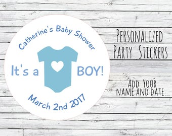 12 or 24 Personalized Baby Boy Baby Shower Favor, Favor Tags, Labels, Pink Blue,Thanks for Coming, Baby Stickers,  Baby Girl You Choose Size