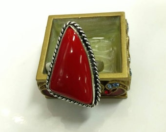 Red Coral Ring, Size 5.5