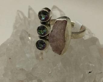 Mystic Topaz and Rose Quartz Ring, Size 7.5