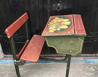 IMPRESSIVE Vintage Painted Child's School Desk