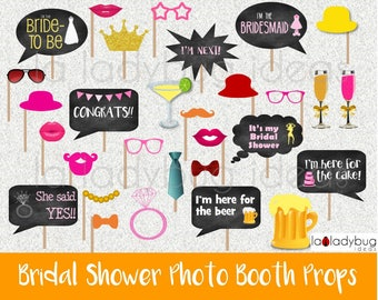 Selfie station Bridal shower props. Colorful. Photo booth. Printable. DIY Bachelorette photo props. Instant download. PDF file.