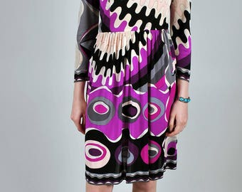 Vintage 1970's Psychedelic Print Purple and Pink Pucci Dress S5