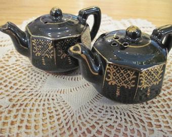 Vintage Teapot Shaped Salt and Pepper Shakers- Item #1513