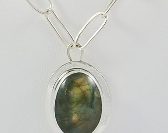 Labradorite Pendant on Hammered Sterling Link Chain