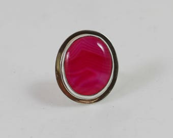 Pink Agate Sterling Adjustable Size Ring