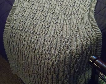 "Gray Acrylic Cable Hand Knit Afghan ""Courtly"""