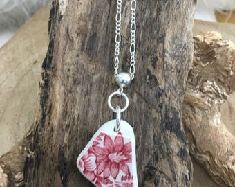 Scottish Sea Pottery pendant in Pink and white floral on 20 inch silver chain