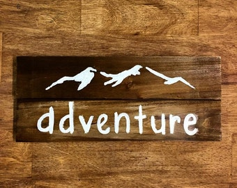 Adventure Sign on Reclaimed Wood