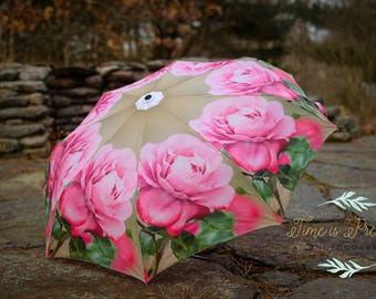 "Custom Designed Umbrella, Featuring my Vintage Rose Photography Print,41"" span,MANUAL Lightweight Umbrella,Flower Print,Rose"