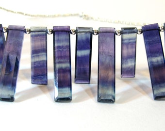 Rainbow Fluorite Necklace, Natural Stone Statement Necklace, Purple and Green Fluorite Spears with Sterling Silver & Hill Tribes Fine Silver