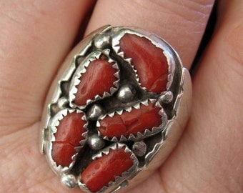 Silver Coral Set Chunky Ring