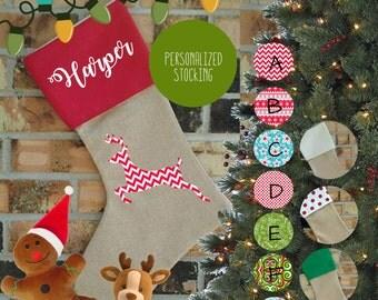 Personalized Deer/Reindeer Burlap Christmas Stocking