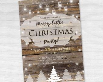 Christmas Party Invitation - Rustic Invitation - Holiday Invite - Christmas Party Invite - Rustic Christmas Party Invitation - Dark Wood