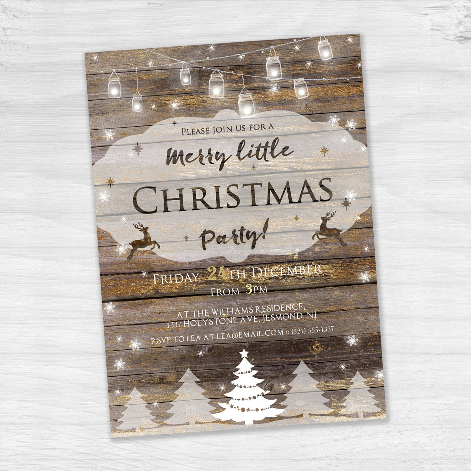Christmas Party Invitation Rustic Invitation Holiday