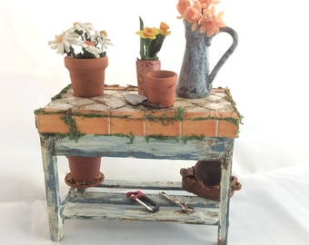 Old Greenhouse Table  Dollhouse furniture  1:12 Scale Handmade Dollhouse Decor Supplies