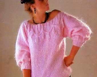PDF Vintage 1960s Sunbeam 772 Ladies GRAPHIC Jumper Knitting Pattern, 1980s Lolita Mod style, Off the Shoulder Dolman 3/4 Sleeves Baby Doll