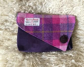 Evening Bag - Pink and Purple Harris Tweed