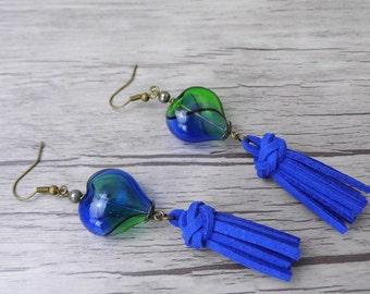 Blue Suede Tassel Earrings Heart Earrings Blue Bead Earrings Dangle Earrings BOHO Earrings Long Drop Earrings Bohemian Earrings ED-012