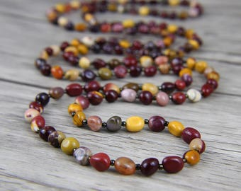 Mookaite Necklace Long Bead Necklace Multi Colors Necklace BOHO Necklace Gemstone Necklace Long lariat necklace Bead Wrap necklace NL-039