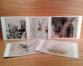 vintage chinese art cards flower paintings by li shan of the qing dynasty printed 1980 postcards to be framed oriental wall art