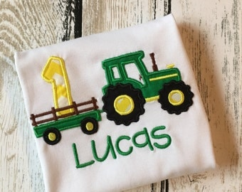Tractor Applique shirt or bodysuit for boys,birthday, one, two, three, four, five, six, seven