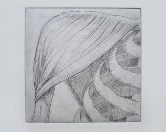 Shoulder Anatomy Original Relief Print