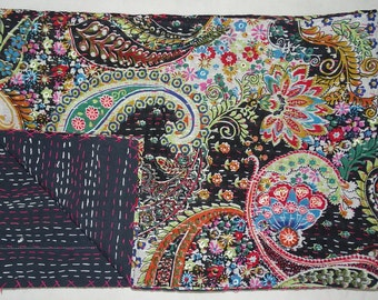 Indian New Cotton Kantha Quilt Twin Size Bedsheet Beautiful Handmade Paisley Design Bedspread Throw Indian Black Floral Bedcover