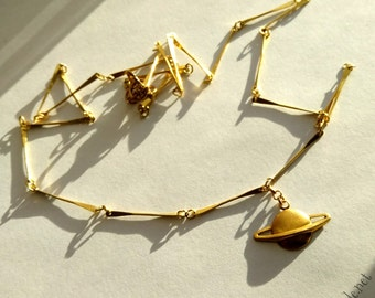 Golden Saturn - Gypsy Soul - Space Necklace