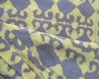 Grey And Yellow Pure Silk Fabric By The Yard